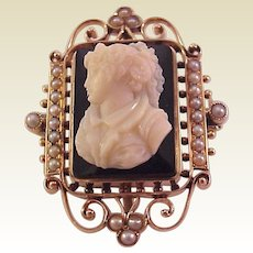 14Kt. Rose Gold and Onyx Cameo Pin / Pendant w/ Memorial Window - Circa 1900