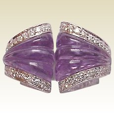 Estate - Io Si Scavia 18kt. White Gold, Carved Amethyst with Diamond Accent Ring