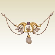 14 Kt. Yellow Gold, Amethyst and Mississippi River Pearl Necklace - Circa 1905