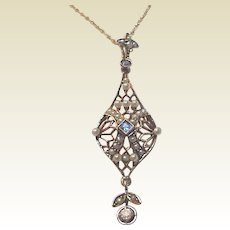 14Kt. Gold, Sapphire, Diamond and Seed Pearl Open Work Pendent - Circa 1905
