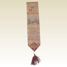 "Stevengraph Silk Bookmark ""A Happy Christmas"" - Designed in 1871"