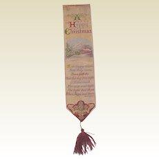 "Stevengraph Silk Bookmark ""A Happy Christmas"" - Designed in 1871"