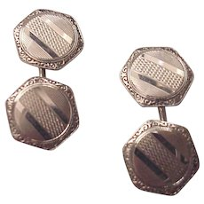 14kt. White Gold Cuff Links Cufflinks -Circa 1925