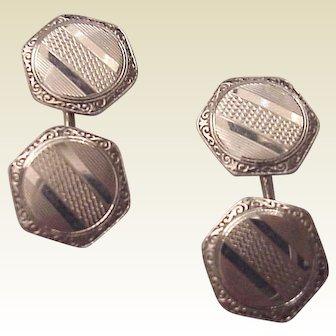 14kt. White Gold Cuff Links Cufflinks -Circa 1925