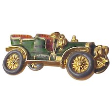 14Kt Gold and Enamel Pin of a Circa 1910 Touring Car - Circa 1915
