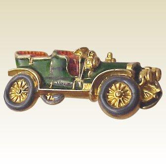 14Kt Gold and Enamel Pin of a Circa 1910 Touring Car - Circa 1915
