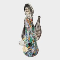 Italian Murano Millefiori Art Glass Angel - C. 1985