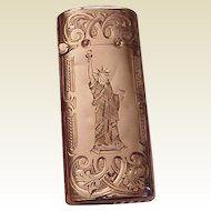 14kt. Gold Match Safe Matchsafe with Gold Quartz Lid and All Hand Engraved Patterns - Circa 1885