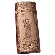 14kt. Gold Quartz Engraved Match Safe / Matchsafe - Circa 1885
