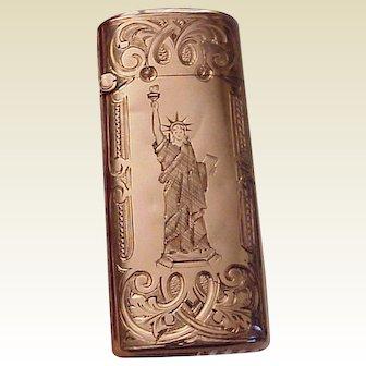 14kt. Gold Match Safe Matchsafe with Gold Quartz Lid and All Hand Engraved Patterns - Circa 1885