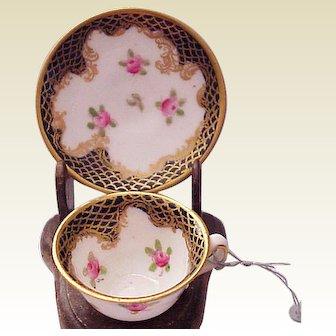 Miniature Crown Staffordshire Cup & Saucer - Circa 1920