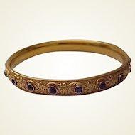 Krementz 14kt. Art Nouveau Bangle Bracelet with 18 Amethyst Gemstones - Circa 1905