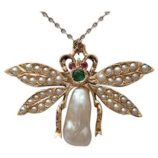 14Kt. Gold and Cultured Pearl Bug Pin with Emerald and Ruby Accents - Circa 1940