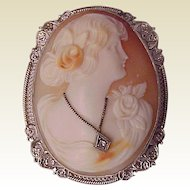 14Kt. White Gold Shell Cameo Pin/Pendent with Diamond Accent - Circa 1925