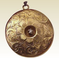 14Kt. Gold Floral Motif Locket with Diamond Accent - Circa 1900