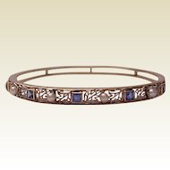 14Kt. Gold Open Work Bracelet with Sapphire and Cultured Pearl Accent - Dated 1912