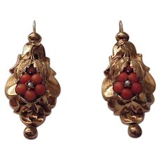14kt. Gold Pierced Earrings with Coral Cabochon Flowers and Seed Pearl Accent - Circa 1860