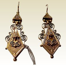 14kt. Gold Victorian Pierced Earrings - Circa 1880
