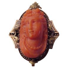 Victorian 14Kt. Gold and Coral Cameo Watch Pin - Circa 1875