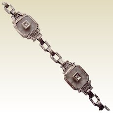Krementz 14kt. White Gold and Rock Crystal Bracelet - Circa 1925