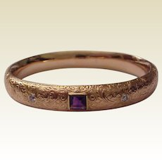 14Kt. Gold Engraved Riker Bangle Bracelet with Gemstone Accent - Circa 1900