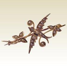 English Victorian 9Kt. Gold and Pearl Pin - Circa 1900