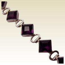 Sterling and Amethyst Glass Art Deco Bracelet - Circa 1925