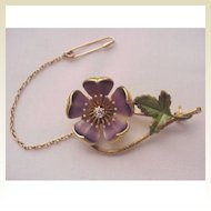 14kt. Yellow Gold & Enamel Flower Pin -  Circa 1900