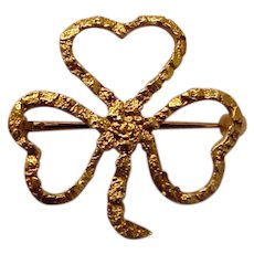 14Kt. Gold Hand Made Nugget Clover Pin