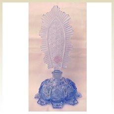 All Faceted Blue Czech Perfume Bottle - Circa 1930