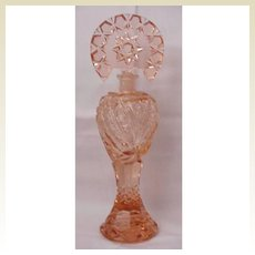 Tall Faceted Peach Colored Czech Perfume - Circa 1930