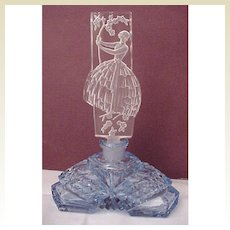 Lady In The Garden Figural Stopper Czech Perfume Bottle - Circa 1930