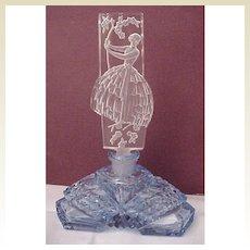 Lady In The Garden Figural Stopper Czech Perfume Bottle - Circa 1930