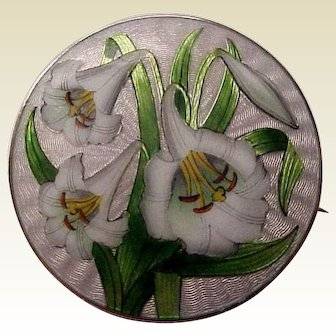 David Andersen Sterling and Guilloche Enamel Lily Pin - Circa 1920