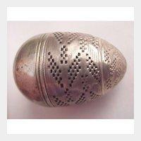 German Silver Egg Scent Box - Circa 1725