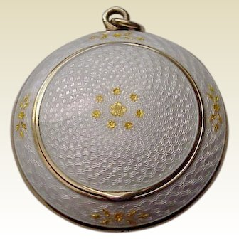 R. Blackington Vermeil Sterling and Guilloche Enamel Compact - Circa 1925