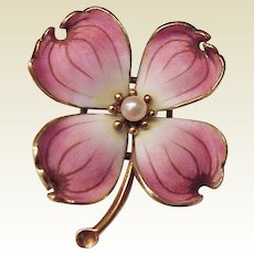 Hedges 14Kt. Gold and Enamel Dogwood Pin - Circa 1930