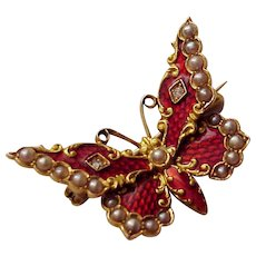 14Kt. and Guilloche Enamel Butterfly Pin with Half Pearl and Diamond Accent - Circa 1890
