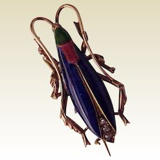 14Kt. and Enamel Bug Watch Pin with Diamond Accent - Circa 1880