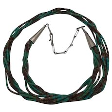 Native American Silver, Turquoise & Heshi / Heishi Necklace