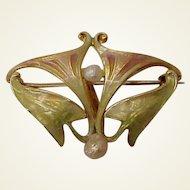 14Kt. Art Nouveau Enamel Lady's Watch Pin - Circa 1910