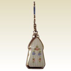 Sterling and Guilloche Enamel Locket with Matching Chain - Circa 1925