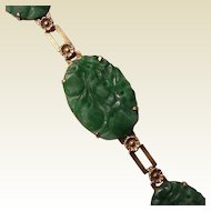 14Kt. Gold and Carved Jade Bracelet - Circa 1930