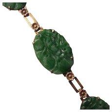 14Kt. Gold and Carved Jade Bracelet - Circa 1930