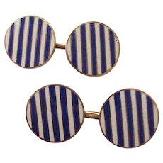 14Kt. Gold and Enamel Cuff Links Cufflinks - Circa 1915