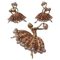 14Kt. Gold Ballerina Pin and Earrings with Ruby and Cultured Pearl Accent - Circa 1960
