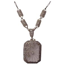14Kt. White Gold and Rock Crystal Necklace - Circa 1925