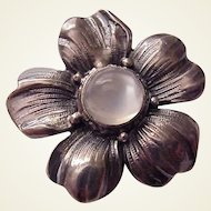 Cini Sterling and Moonstone Hand Crafted Flower Pin - Circa 1945