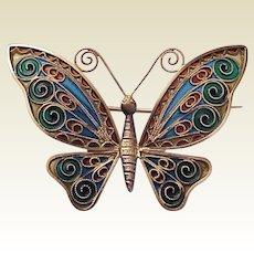 Johan G Kjaerland Vermeil Sterling & Plique A Jour Butterfly Pin - Circa 1900