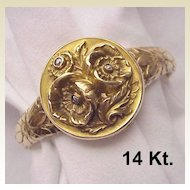 Rare 14 kt. Gold Art Nouveau Locket Bracelet with Gemstone Accent - Circa 1910